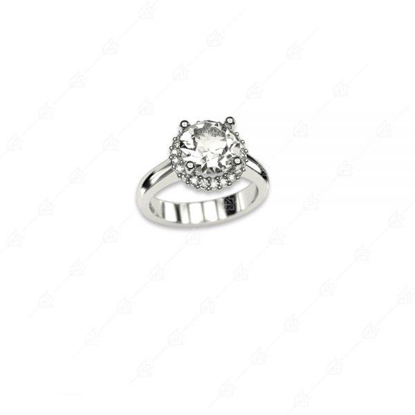 Εντυπωσιακό μονόπετρο ασημένιο δαχτυλίδι 925