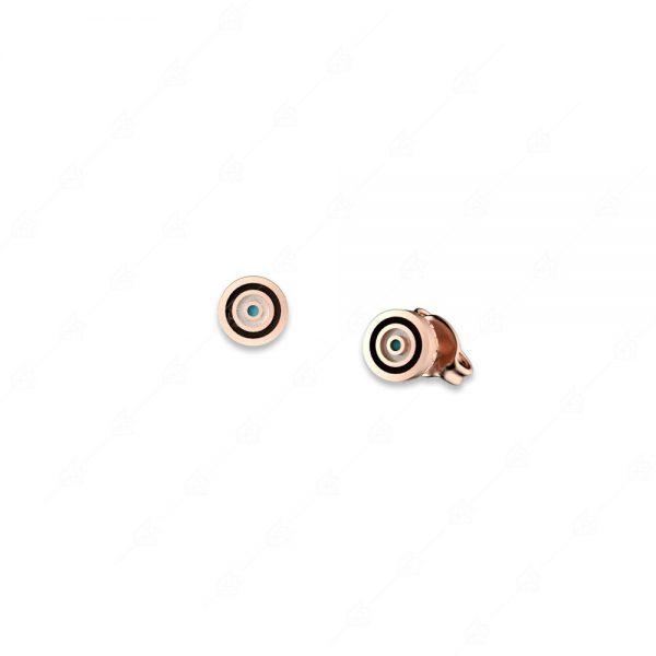 Σκουλαρίκια ασήμι 925 ροζ επιχρυσωμένο με στόχο ματάκι