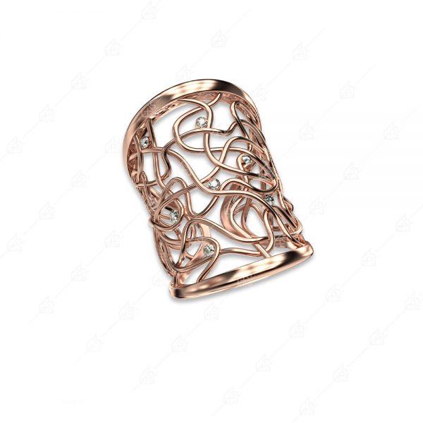 Δαχτυλίδι ασήμι 925 με ροζ επιχρύσωμα