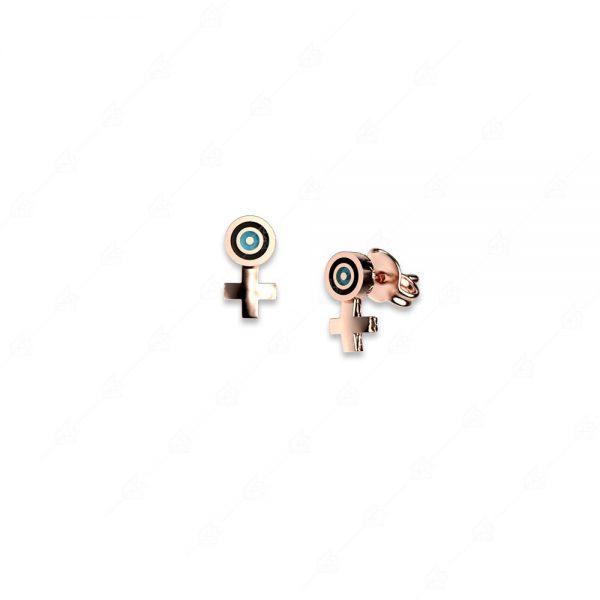 Σκουλαρίκια ασήμι 925 ροζ επιχρυσωμένο με στόχο ματάκι και σταυρό