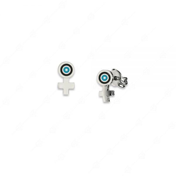 Σκουλαρίκια ασήμι 925 με στόχο ματάκι και σταυρό