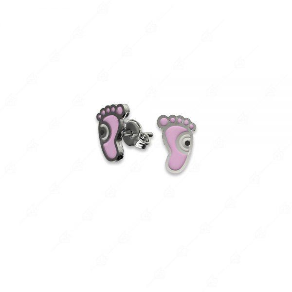 Σκουλαρίκια ασήμι 925 με ροζ πατούσα