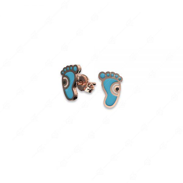 Σκουλαρίκια ασήμι 925 με γαλάζια πατούσα