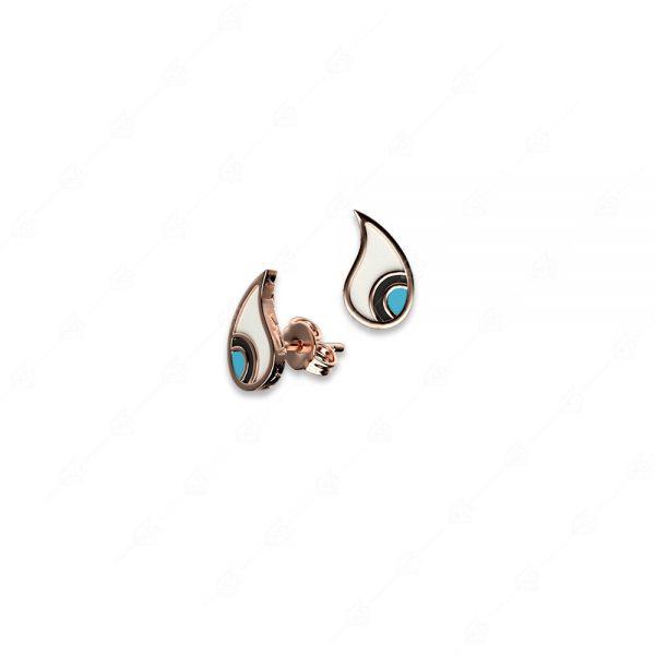 Σκουλαρίκια ασήμι 925 ροζ επιχρυσωμένο με δάκρυ ματάκι