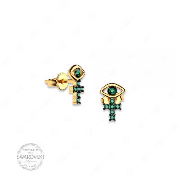 Σκουλαρίκια ασήμι 925 με ματάκι και σταυρό