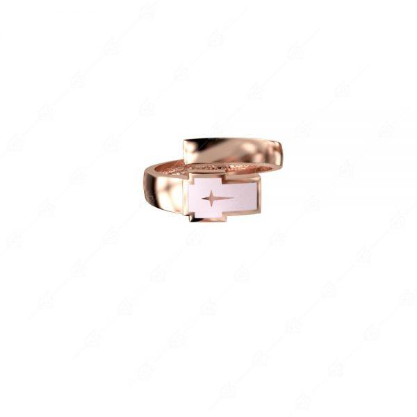 Δαχτυλίδι ασήμι 925 με ροζ σταυρό