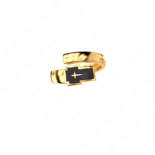Δαχτυλίδι ασήμι 925 με μαύρο σταυρό