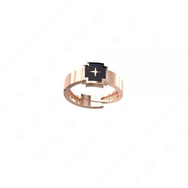 Δαχτυλίδι ασημένιο 925 με μαύρο σταυρό