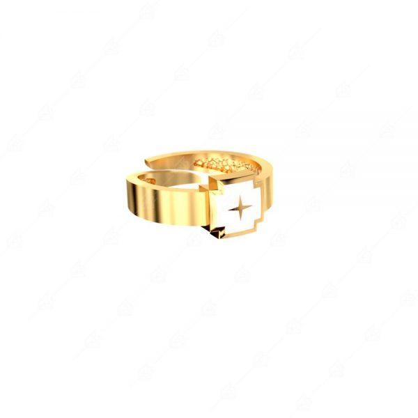 Δαχτυλίδι ασημένιο 925 με λευκό σταυρό