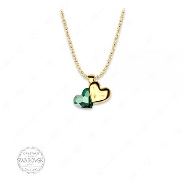 Κολιέ ασήμι 925 με δύο καρδιές