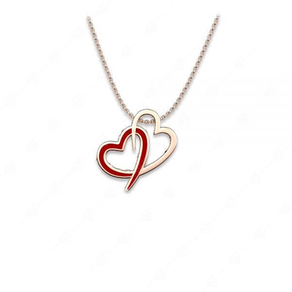 Κολιέ ασήμι 925 με διπλή καρδιά