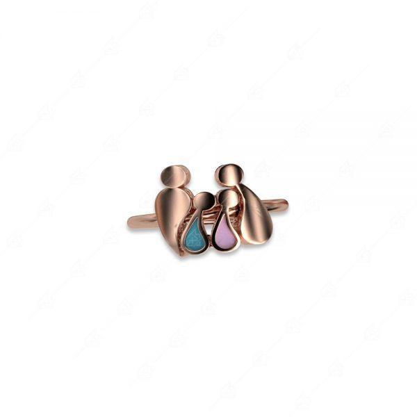 Δαχτυλίδι γονείς με αγοράκι και κοριτσάκι ασήμι 925