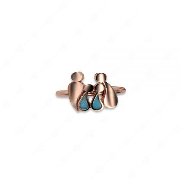 Δαχτυλίδι γονείς με δύο αγοράκια ασήμι 925
