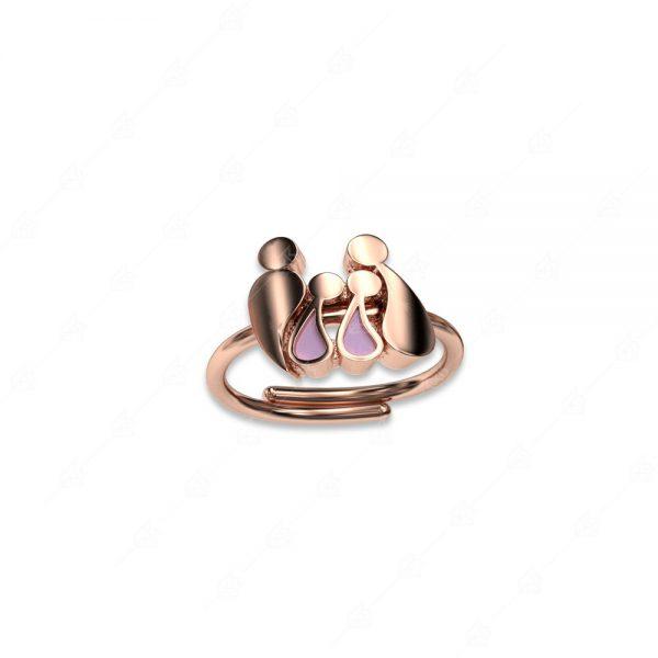Δαχτυλίδι γονείς με δύο κοριτσάκια ασήμι 925