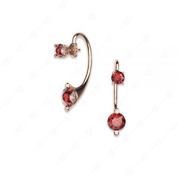 Μοντέρνα σκουλαρίκια ασήμι 925 με κόκκινα στρογγυλά κρύσταλλα