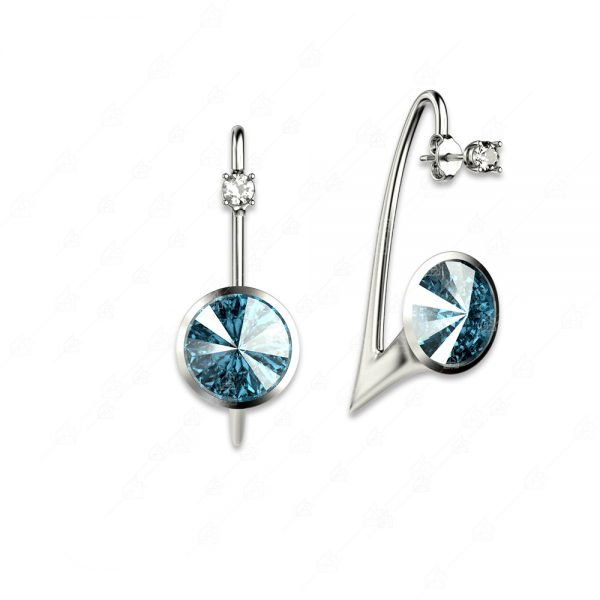 Εντυπωσιακά σκουλαρίκια ασήμι 925 με μπλε στρογγυλά κρύσταλλα