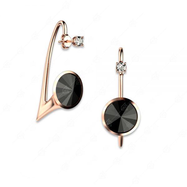 Εντυπωσιακά σκουλαρίκια ασήμι 925 με μαύρα στρογγυλά κρύσταλλα