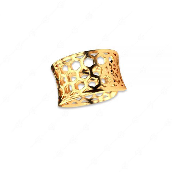 Δαχτυλίδι ασήμι 925 με κίτρινο επιχρύσωμα