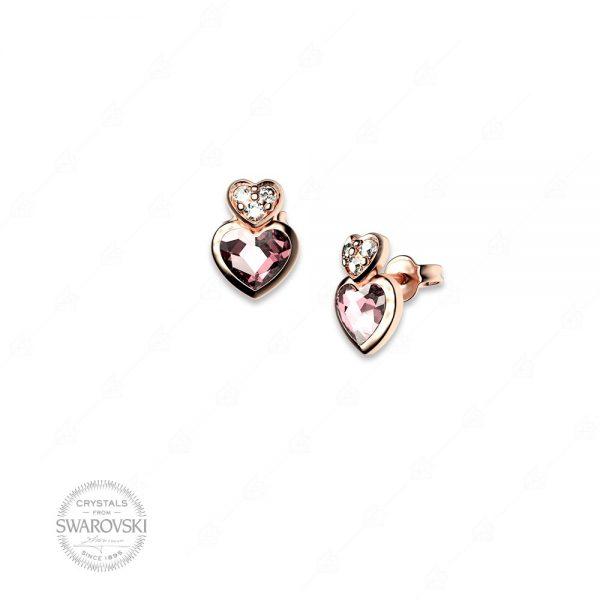 Σκουλαρίκια ασήμι 925 με καρδιές