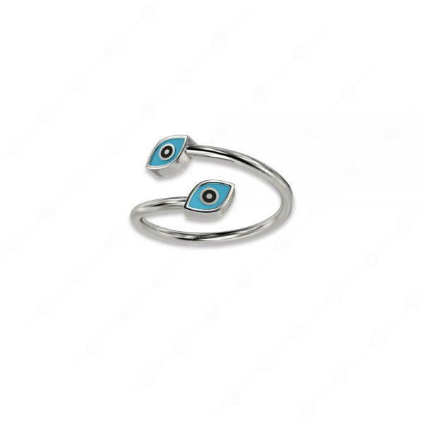 Δαχτυλίδι με δύο ματάκια ασήμι 925