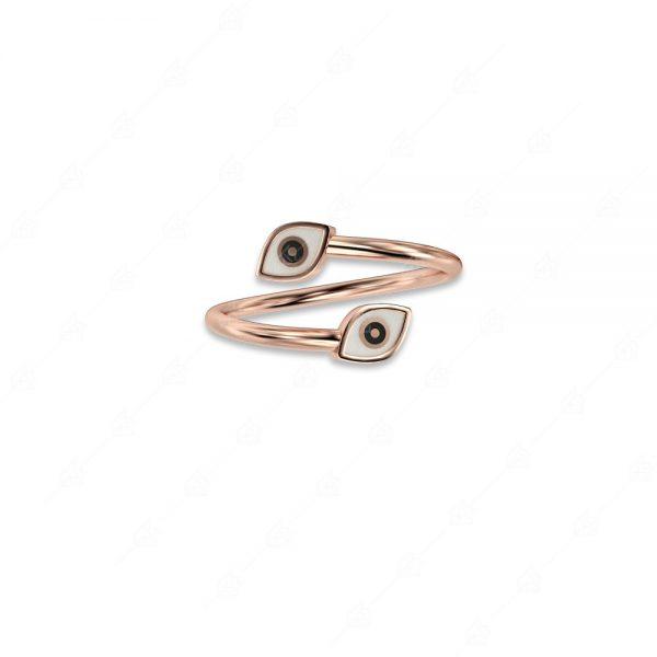 Δαχτυλίδι με δύο ματάκια ασήμι 925 ροζ επιχρυσωμένο