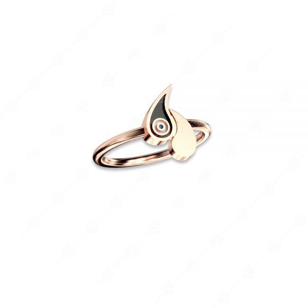 Δαχτυλίδι με δύο λαχούρια ασήμι 925 ροζ επιχρυσωμένο