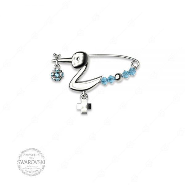 Παραμάνα μικρός πελαργός γαλάζιος ασήμι 925 με σταυρό