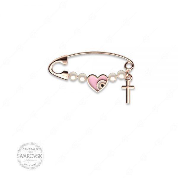 Παραμάνα ασήμι 925 με καρδιά και σταυρό
