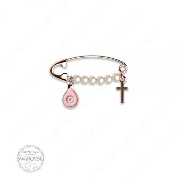 Παραμάνα ασήμι 925 με δάκρυ ροζ ματάκι και σταυρό