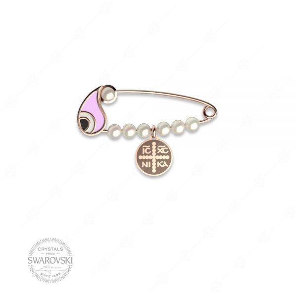 Παραμάνα ασήμι 925 με δάκρυ ματάκι ροζ και κωνσταντινάτο