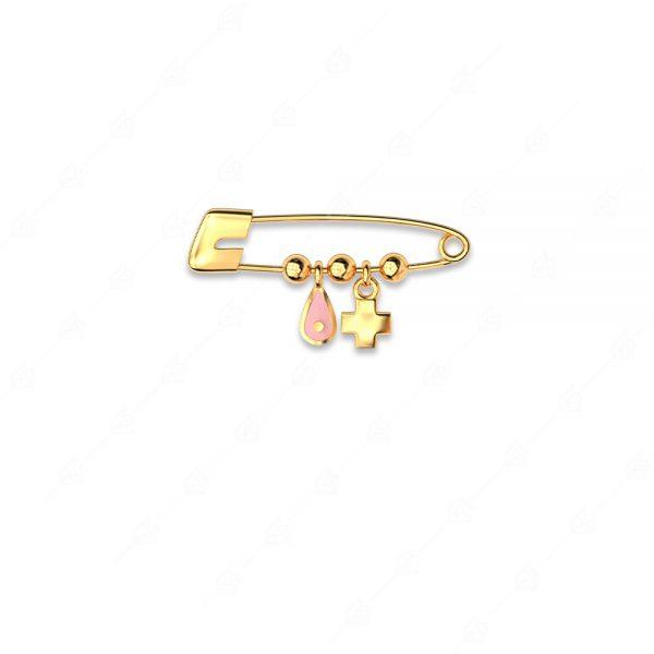 Παραμάνα ασήμι 925 με δάκρυ ματάκι ροζ και σταυρό