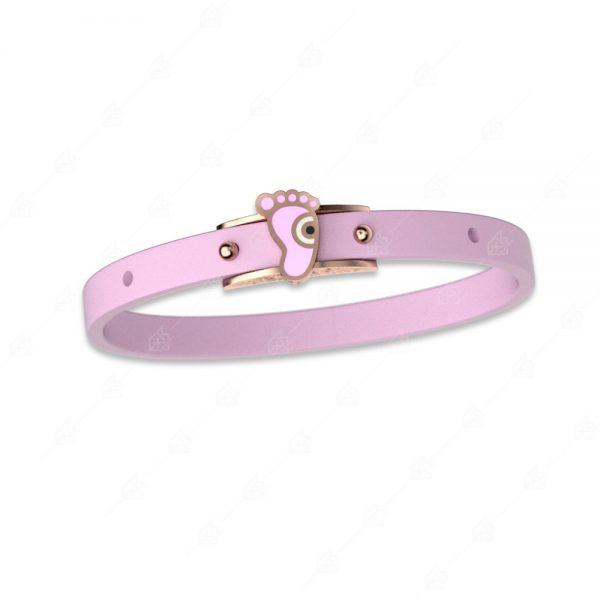 Βραχιόλι ροζ με πατούσα ασήμι 925