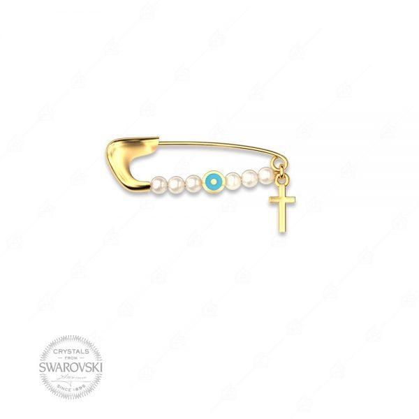 Παραμάνα ασήμι 925 με στόχο ματάκι τυρκουάζ και σταυρό