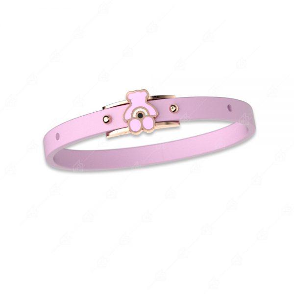 Βραχιόλι ροζ αρκουδάκι ασήμι 925