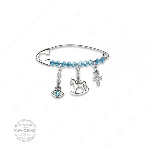 Παραμάνα γαλάζια ασήμι 925 με ματάκι, αλογάκι και σταυρό
