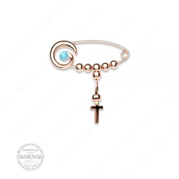 Παραμάνα μάτι και σταυρό ασήμι 925 με ροζ επιχρύσωμα