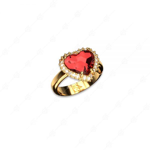 Δαχτυλίδι ασήμι 925 με κόκκινη καρδιά