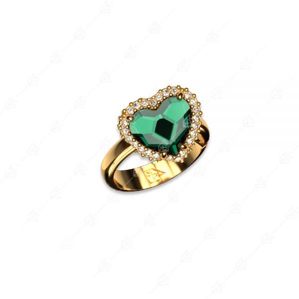 Δαχτυλίδι ασήμι 925 με πράσινη καρδιά