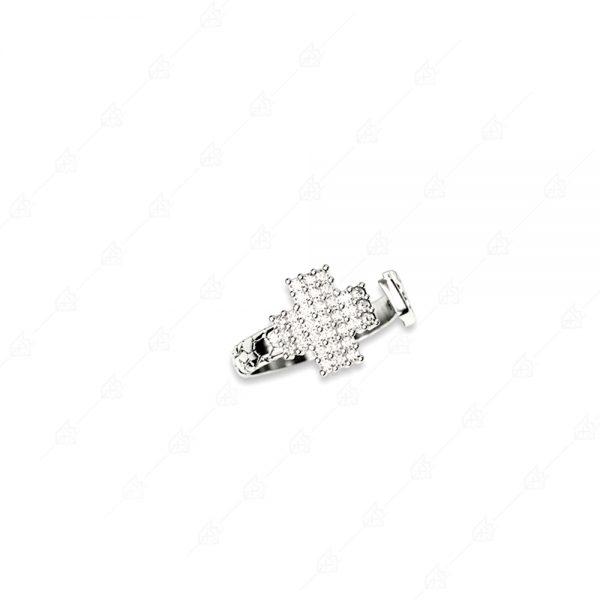 Δαχτυλίδι με σταυρό ασήμι 925 και κρύσταλλα