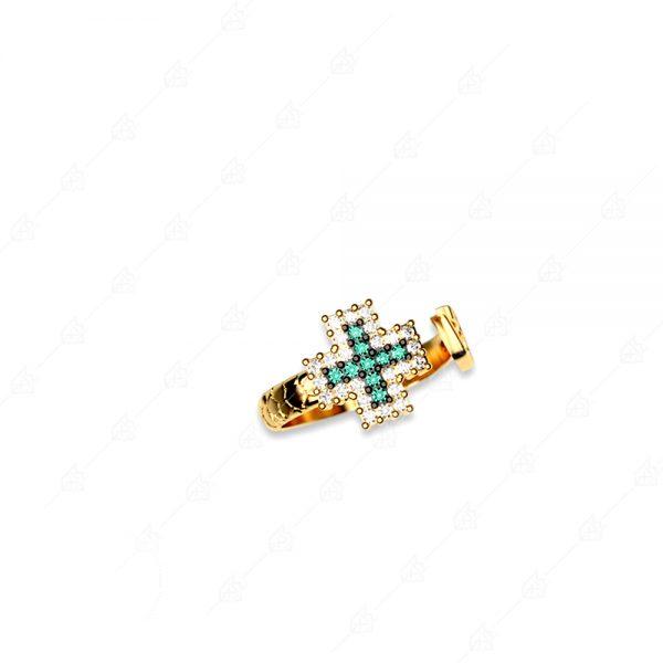 Δαχτυλίδι σταυρός ασήμι 925 με κίτρινο επιχρύσωμα