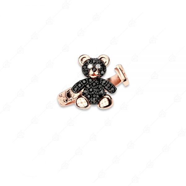 Δαχτυλίδι αρκουδάκι ασήμι 925 με μαύρα κρύσταλλα