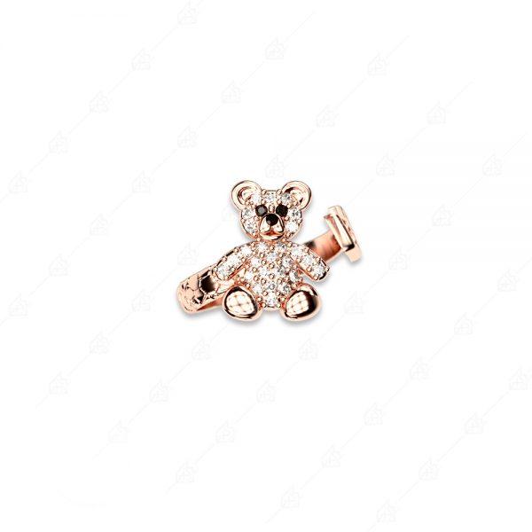 Δαχτυλίδι αρκουδάκι ασήμι 925 με λευκά κρύσταλλα