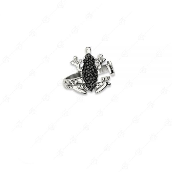 Δαχτυλίδι βάτραχος ασήμι 925 με μαύρα κρύσταλλα