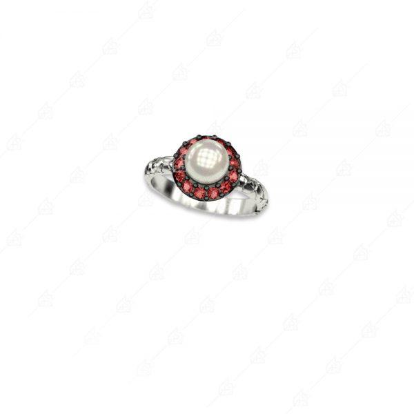 Δαχτυλίδι ροζέτα με πέρλα ασήμι 925 και κόκκινα κρύσταλλα