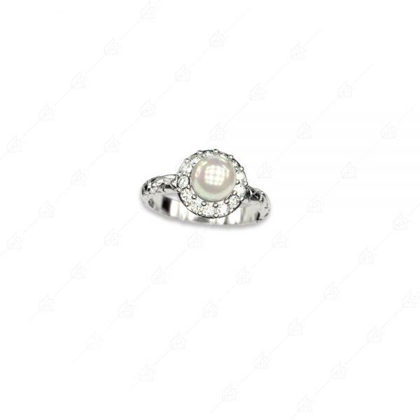 Δαχτυλίδι ροζέτα με πέρλα ασήμι 925 και λευκά κρύσταλλα