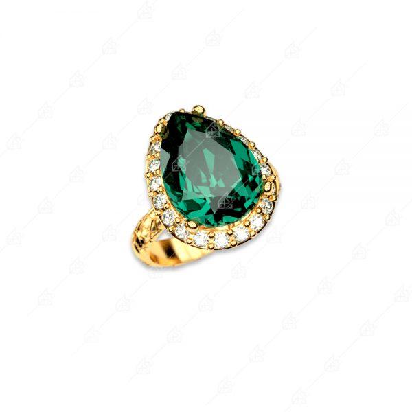 Δαχτυλίδι ροζέτα ασήμι 925 με δάκρυ κρύσταλλο