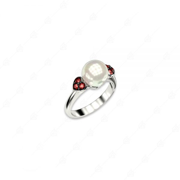 Δαχτυλίδι πέρλα ασήμι 925 με καρδούλες