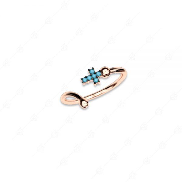 Διακριτικό δαχτυλίδι ασήμι 925 με σταυρό