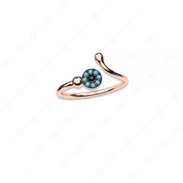 Δαχτυλίδι ασήμι 925 ροζ επιχρυσωμένο με στόχο ματάκι
