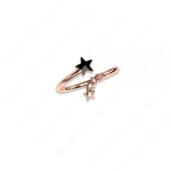 Δαχτυλίδι αστεράκι ασήμι 925 ροζ επιχρυσωμένο